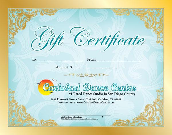 dance certificates  Gift Certificates – Carlsbad Dance Centre